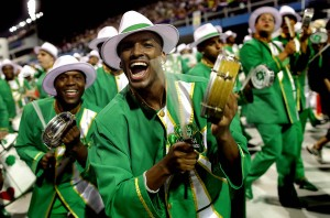 Drummers perform during the Carnival parade of the Camisa Verde e Branco samba school in Sao Paulo. (Andre Penner/Associated Press)